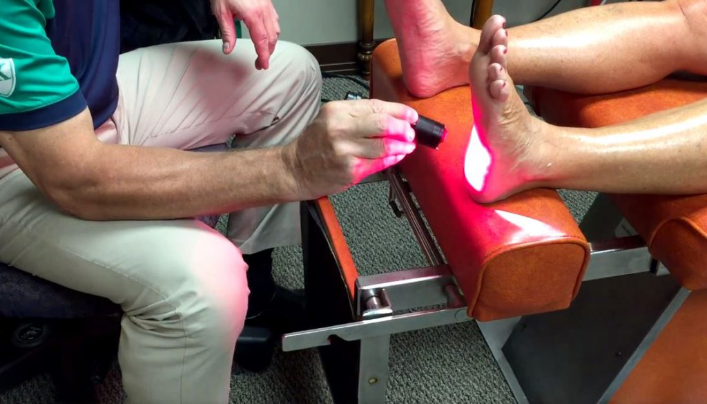 Dr. Klinginsmith Demonstrating Chiropractic Treatment for Plantar Fasciitis